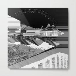 Glitch Planetscape Metal Print