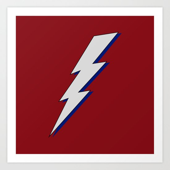 Just Me and My Shadow Lightning Bolt - Dark Red Grey Blue by multifascinated