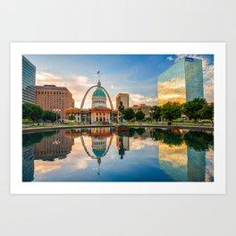 Downtown St. Louis Skyline Morning Sunrise Reflections Art Print