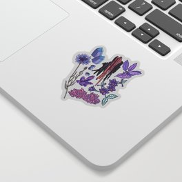 Purple flowers and jewels. Sticker