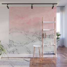 Modern blush pink watercolor ombre white marble Wall Mural