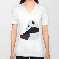 pandas V-neck T-shirts featuring Pandas by Alexandra Baker