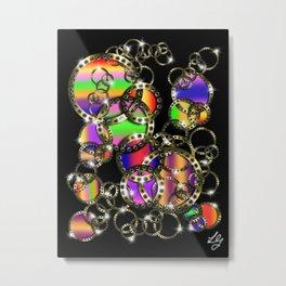 Golden Rings Rainbow Metal Print