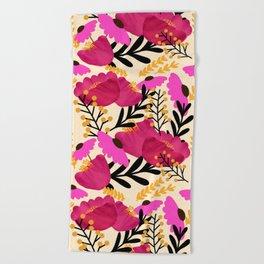 Vibrant Floral Wallpaper Beach Towel