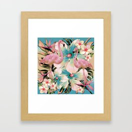 Vintage Flamingo Aloha Framed Art Print