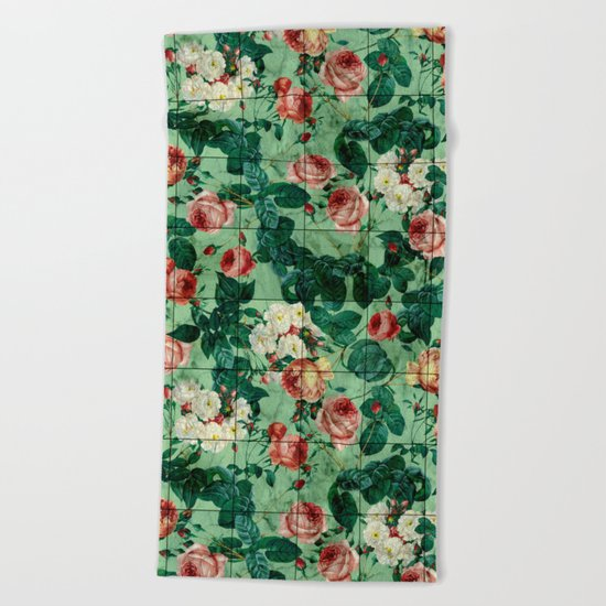 Floral and Marble Texture Beach Towel