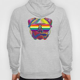 Psychedelic Pug Dog Face with Gay Pride Sunglasses Hoody