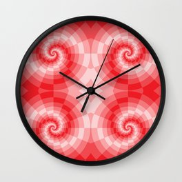 Red-white spirals made from blocks Wall Clock