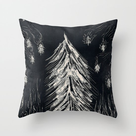 Midnight In A  Burning Forest Throw Pillow