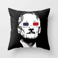 bill murray Throw Pillows featuring Bill Murray 3D by Spyck