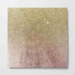 Gold Glitter and Pink Rose Gold Foil Mesh Metal Print
