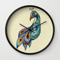 peacock Wall Clocks featuring Peacock by SilviaGancheva