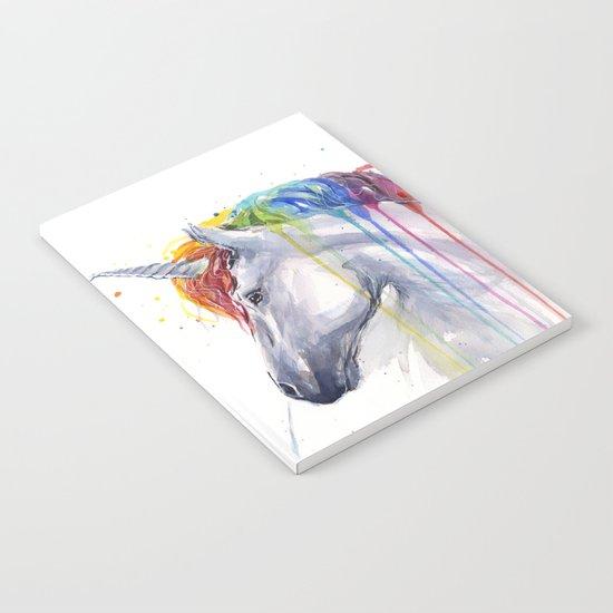 Rainbow Unicorn Watercolor Animal Magical Whimsical Animals Notebook