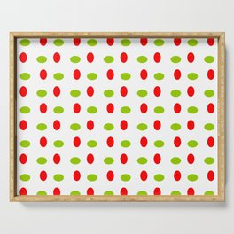 Wild polka dot 17- green and red Serving Tray