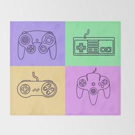 Nintendo Gaming Controllers - Retro Style! Throw Blanket