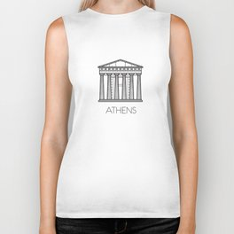 Acropolis Athens Greece Black and White Biker Tank