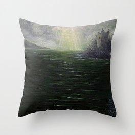 Sunbreak over Urquhart Castle Throw Pillow