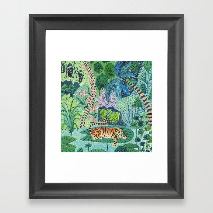 Jungle Tiger Gerahmter Kunstdruck
