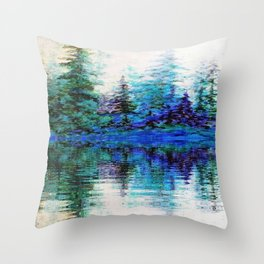 SCENIC BLUE MOUNTAIN PINES LAKE REFLECTION Throw Pillow