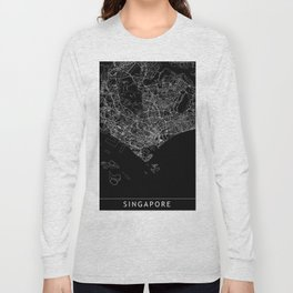 Singapore Black Map Long Sleeve T-shirt