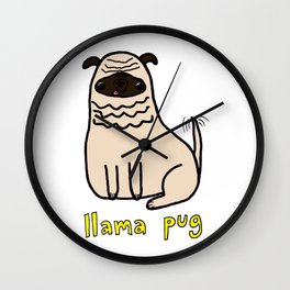 Llama Pug Wall Clock