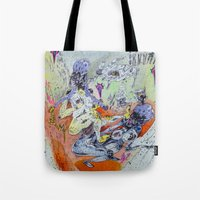 best friends Tote Bags featuring best friends by Kira Leigh