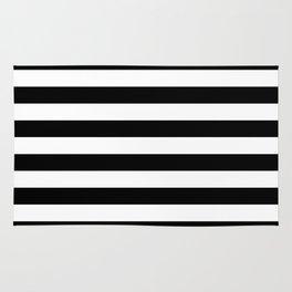 Black White Stripe Minimalist Rug