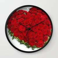 mercedes Wall Clocks featuring Heart of red roses by Premium
