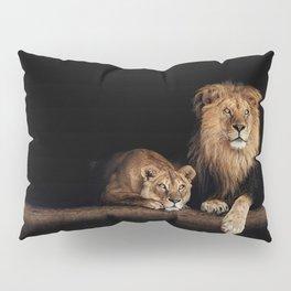 Portrait of Lion Family on dark background - vintage nature photo Pillow Sham