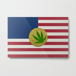 In Weed We Trust - Coin on USA flag Metal Print