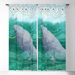 Blue Whale Song in the Emerald Ocean Blackout Curtain
