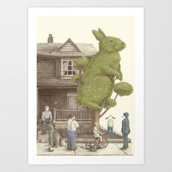 The Night Gardener - Rabbit Tree Art Print