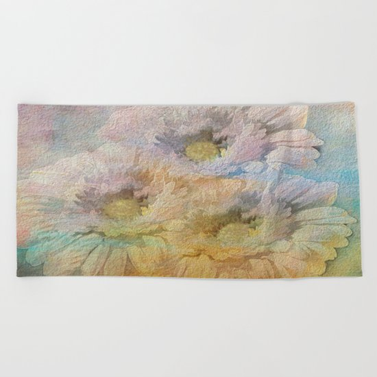 Soft Painted Rainbow Daisies Abstract Beach Towel