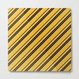 Potterverse Stripes - Hufflepuff Yellow Metal Print