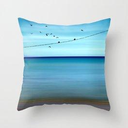 Cretan Sea & Birds II Throw Pillow
