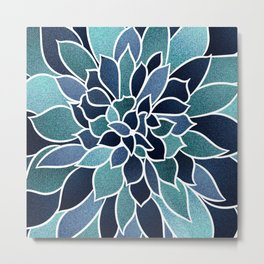 Floral Prints, Navy Blue and Teal, Art for Walls Metal Print
