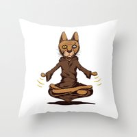 jedi Throw Pillows featuring Jedi cat by Toms Tomsons