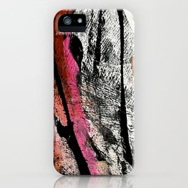 Motivation [2] : a colorful, vibrant abstract piece in pink red, gold, black and white iPhone Case