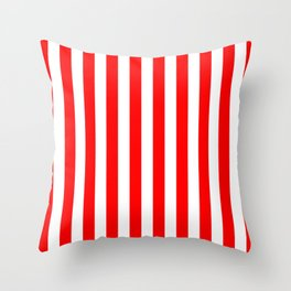 Vertical Stripes (Red & White Pattern) Throw Pillow