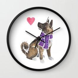 Watercolour Akita Wall Clock