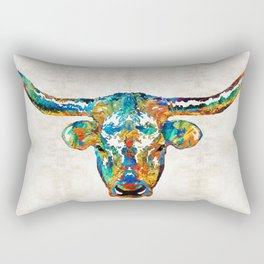 Colorful Longhorn Art By Sharon Cummings Rectangular Pillow
