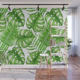 Tropical leaves watercolor Wall Mural