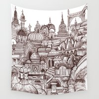 india Wall Tapestries featuring Jaipur, India by Justine Lecouffe