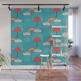 April showers rainbow Clouds Teal #nursery Wall Mural