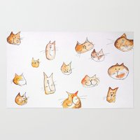 water colour Area & Throw Rugs featuring Water-colour Cats by Jessy Belanger