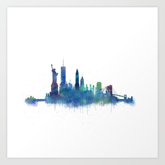 Watercolor New York: NY New York City Skyline NYC Watercolor Art Art Print By