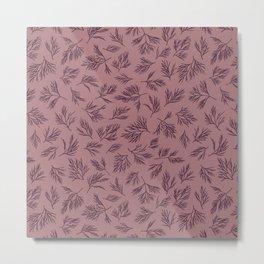 Dill seamless pattern design purple tones. Plant pattern Metal Print