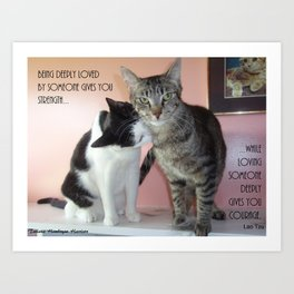 Love Gives Us Strength: Two Cats Art Print