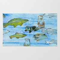 otters Area & Throw Rugs featuring Otters and Carp by PA'LANE