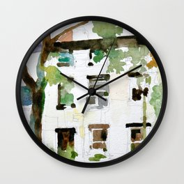Brownstones and Tree Wall Clock